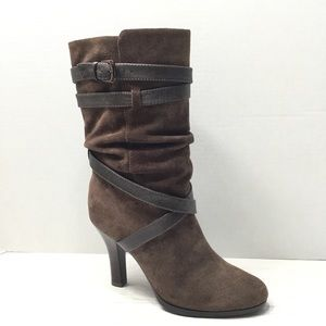 SOFFT | Suede Leather Mid Calf Heeled Boots - Sz 7
